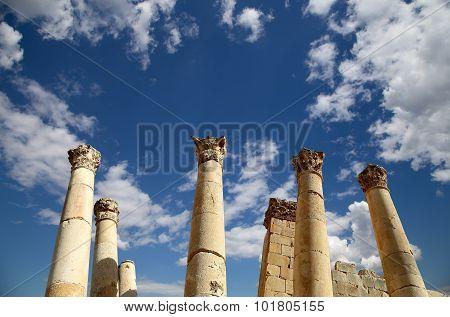 Roman Columns in the Jordanian city of Jerash (Gerasa of Antiquity)