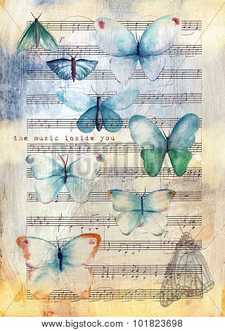 A vintage collage post card or poster design with watercolor butterflies and sheet music