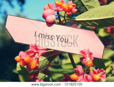 Paper note I Miss You, bush of warty euonymus