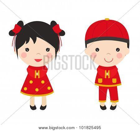 Vector illustration Chinese Kids