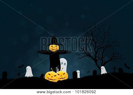 Halloween Party Background with Scarecrow, Ghosts Pumpkins