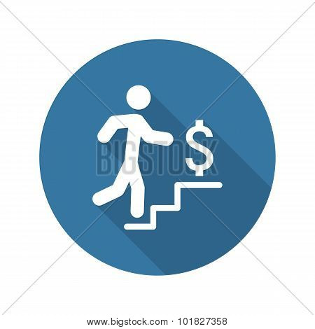 Make More Money Icon. Business Concept. Flat Design. Long Shadow