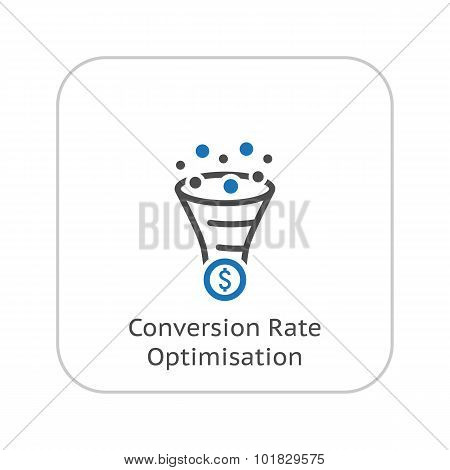 Conversion Rate Optimisation Icon. Business Concept. Flat Design
