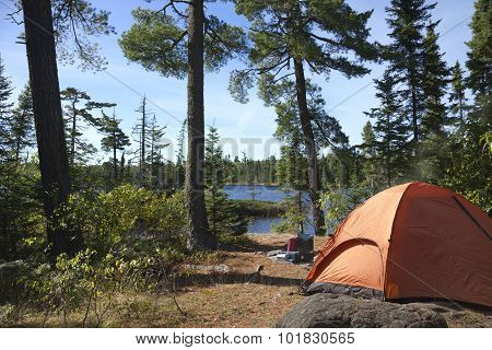 Campsite Overlooking Boundary Waters Lake In Minnesota