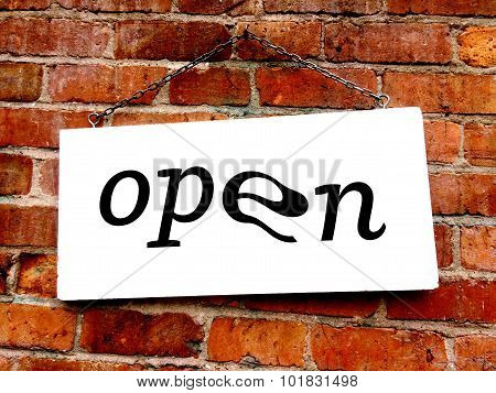 Open Sign On Old Brick Wall