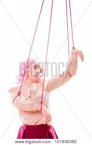 Young woman girl stylized like marionette puppet on string poster
