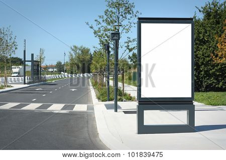 Blank outdoor billboard in France - Mock-up template for designers, with clipping path.