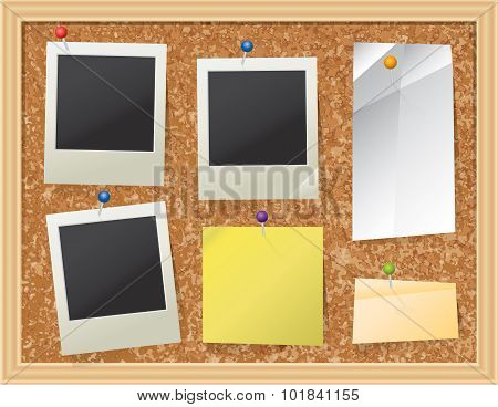 Cork Board With Pinned Paper And Photos
