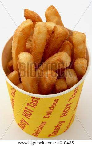 Golden Fries/Chips On A White Background