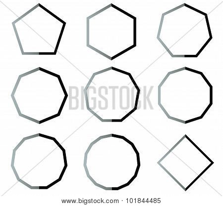 .polygon Black And White Shapes Set Illustration