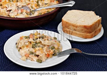 Chicken, Vegetable And Noodle Casserole.