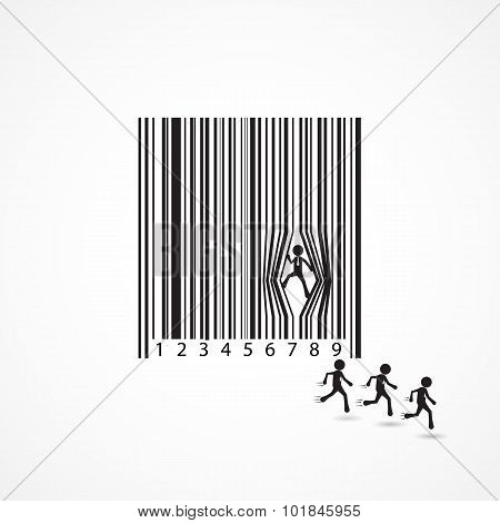 Businessman Sign With Dilapidation Barcode.Business concept