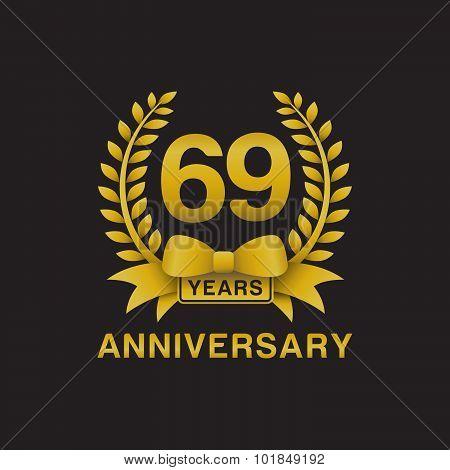 69th anniversary golden wreath logo black background