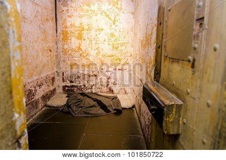 Empty old prison cell interior. crime concept
