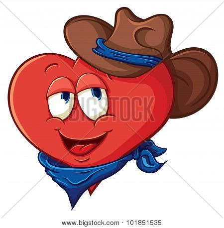 Illustration With Simple Gradients With The Image Of Cute Cartoon Heart In A Cowboy Hat And Scarf