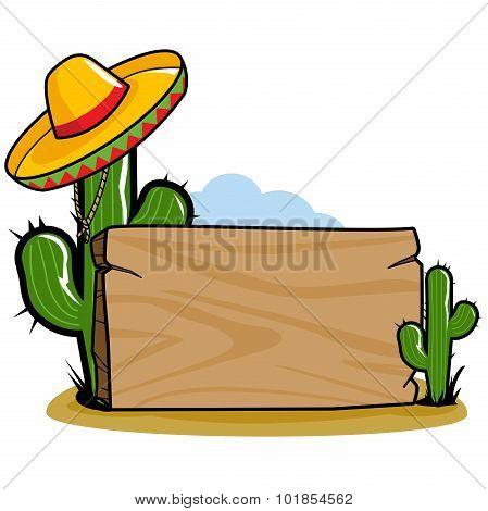 Mexican sombrero cactus signpost
