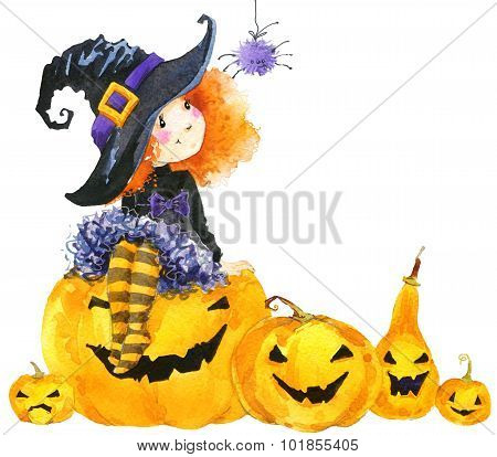 Halloween holiday little girl witch and pumpkin. Watercolor illustration background holiday Hallowee