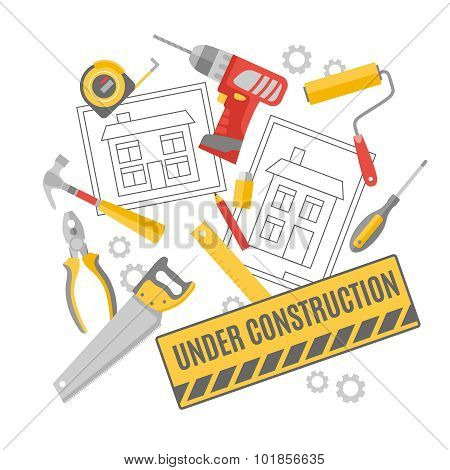 Construction worker pictograms composition banner