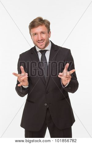 Businessman with yo signs over white background