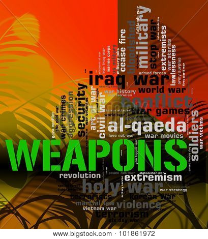 Weapons Word Means Armament Armoury And Wordclouds