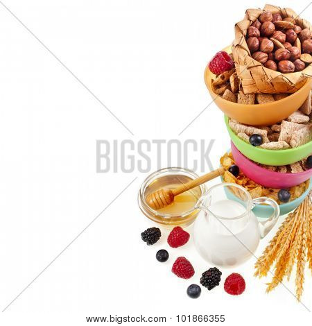 Diet weight loss breakfast concept , tower stack isolated on a white background