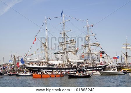 Vintage tall ships in amsterdam