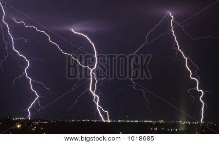 lightning over the city of colorado springs during a storm poster