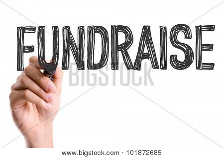 Hand with marker writing: Fundraise