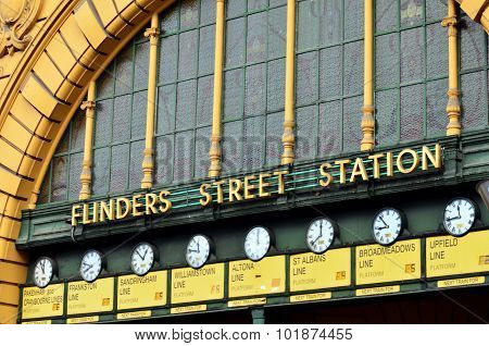 Clocks at the main entrance of Flinders Street Railway Station in Melbourne Victoria Australia.
