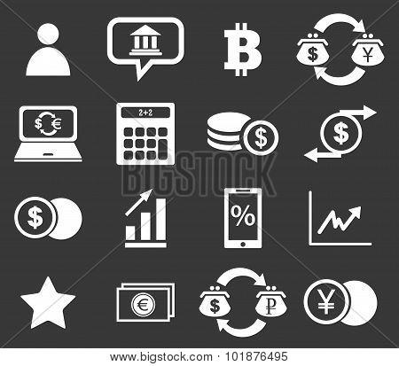 Finance icon set 4, monochrome