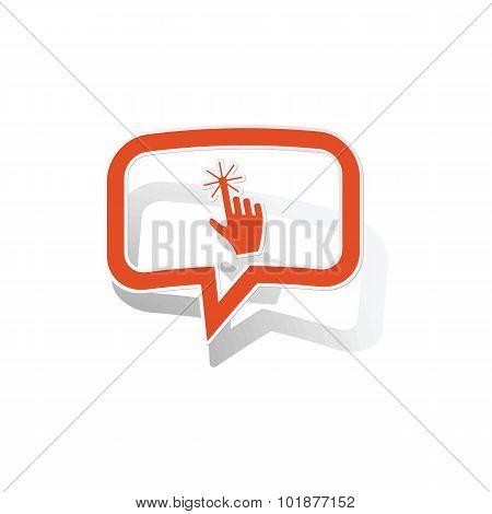 Hand cursor message sticker, orange