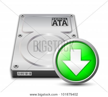 Vector Hard Disk Drive Icon With Download Sign