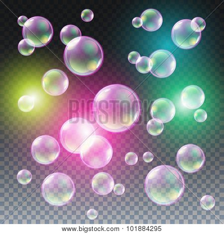 Transparent Multicolored Soap Bubbles Vector Set On Plaid Background. Sphere Ball, Design Water