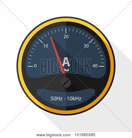 Ammeter Icon With Long Shadow On White Background