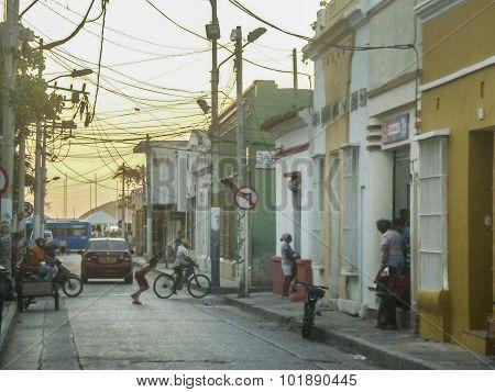 Urban Sunset Scene In Santa Marta Colombia