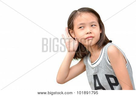liitle cute girl listening or hearing something portrait of asian child isolated on white background poster