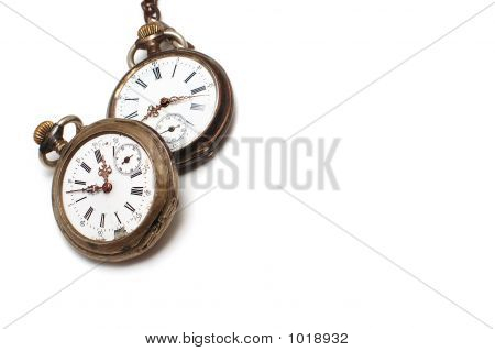 Two Old Watches Isolated On White