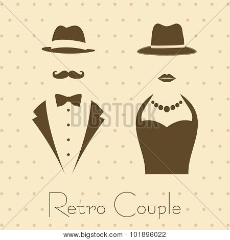 Gentleman and Lady Symbols on Vintage Style Background poster