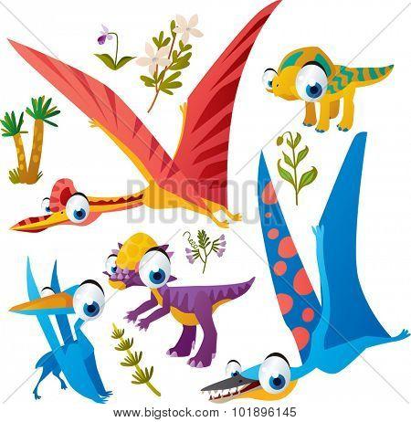 Animal set: vector cute comic dinos: quetzalcoatl, protoceratops, pterodactyl, pachycephalosaurus