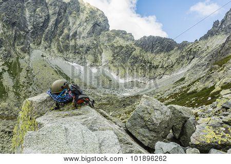 Climbing Equipment Against Tatra Ridge
