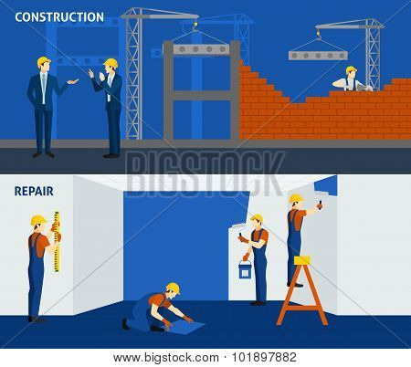 Building construction repair flat horizontal banners