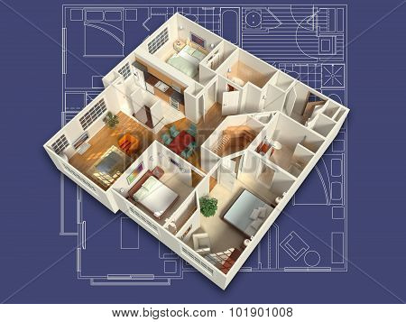 3D Furnished House on a Blueprint