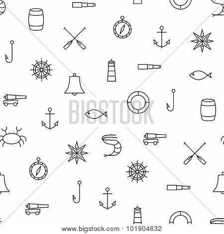 White And Black Ship & Sea Line Icons Seamless Pattern