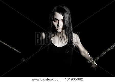 Pale Woman With Tied Arms
