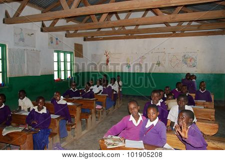 The Students Of Middle School Of The Village Pomerini In Tanzania, Africa 57