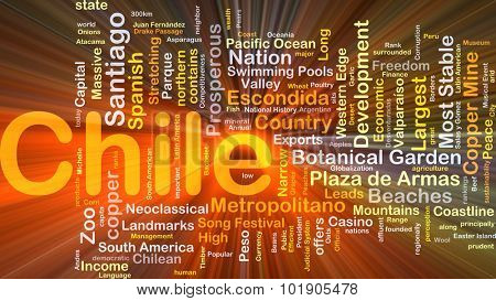 Background concept wordcloud illustration of Chile glowing light