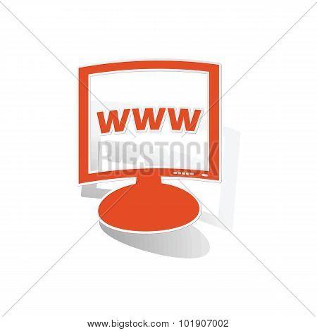 WWW monitor sticker, orange