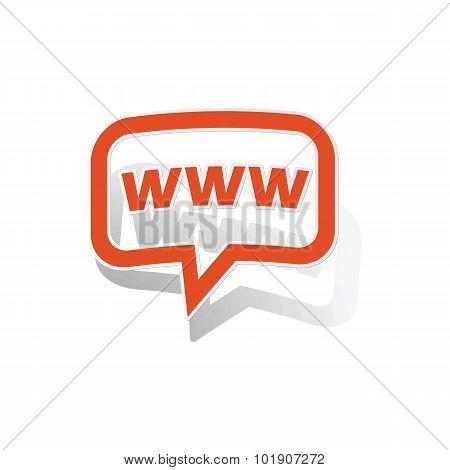 WWW message sticker, orange
