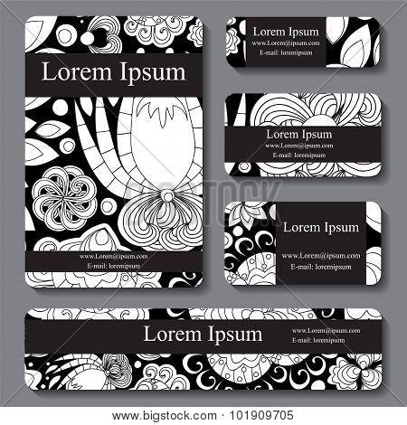 Stock Vector Set Of Busines Card. Decorative Ornament. Template Doodle Design