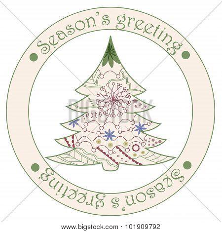 Seasons Greeting Sticker With Christmas Tree